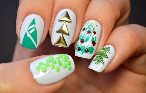 Елочки на ногтях