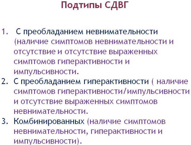 Типы СДВГ