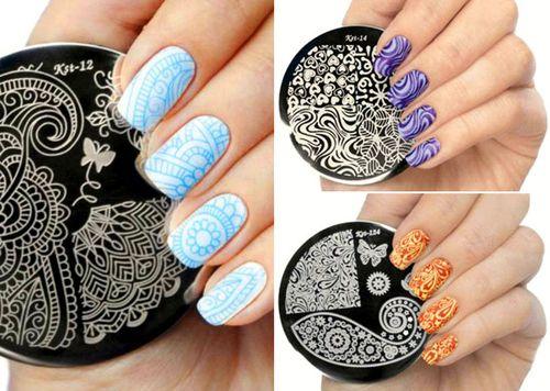 Ногти декорированные стемпингом