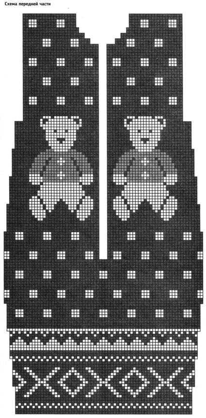 Схема передней части вязанного коверта для новорожденного