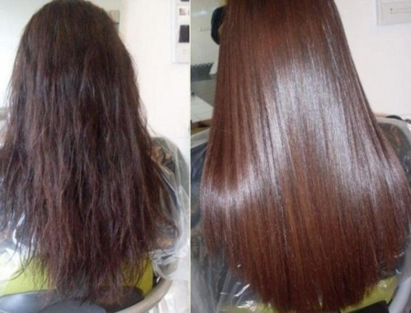 Сравнение волос до и после применения маски