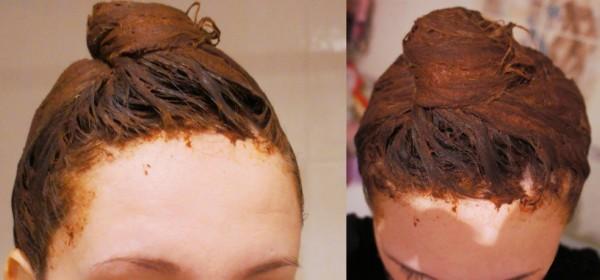 Нанесённая маска на волосы