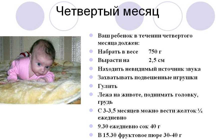 4 месяца ребенку что должен уметь делать