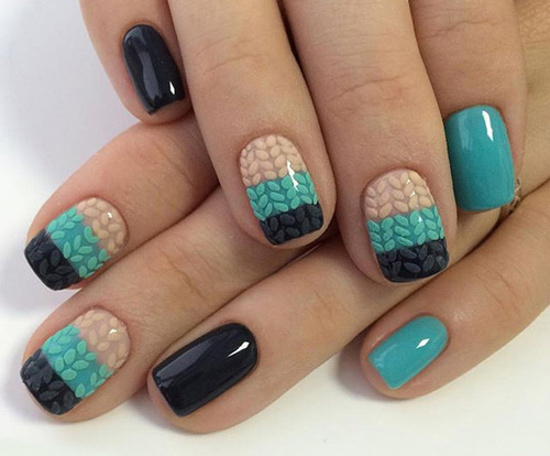 Вязаный маникюр на коротких ногтях