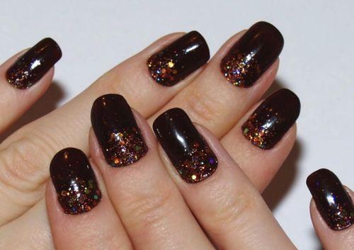 темно-коричневый гель лак с блестками