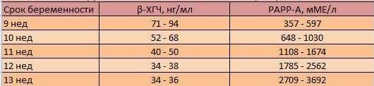 Нормативные показатели анализа крови на b-ХГЧ и ПАПП-А белок