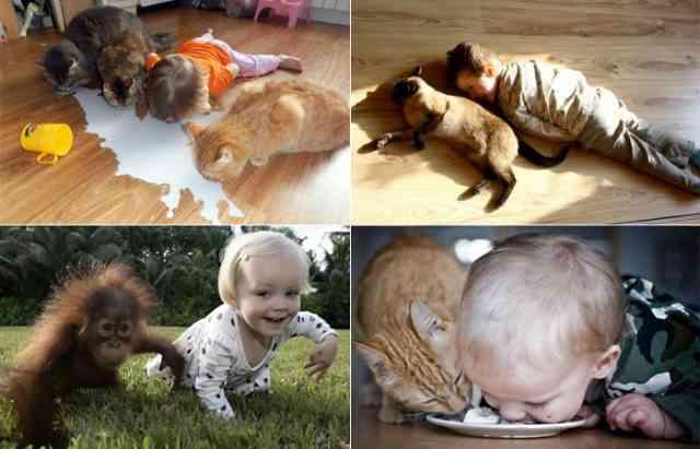 маленький ребенок в 1 год и 5 месяцев подражает животным