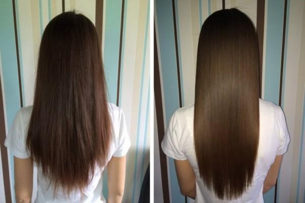До и после применеия маски для волос